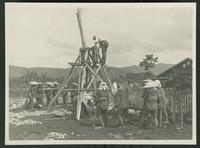 Group working to construct a residential building