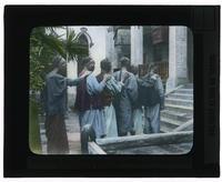 Five blind men walking into Changteh Hospital in Changteh [Changde Diqu], China [Transparent]