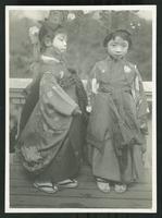 Children wearing Korean costumes over Japanese dress