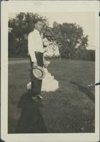 Harry Byers standing in a garden.