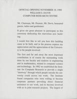 Official Opening November 10, 1988: William G. Davis Computer Research Centre