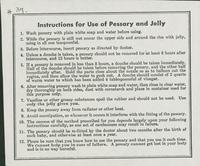 #37: Instructions for use of pessary and jelly