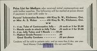 #55 : Price list for mothers