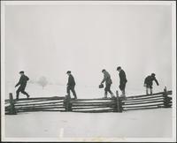 Mennonite Boys Walking on a Rail Fence, Winter