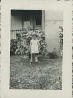 Jean Byers in garden.